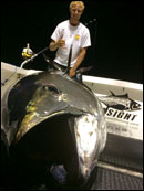 The Hindsight's first mate, Rich Emerson, with a giant bluefin tuna